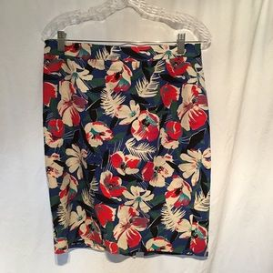 JCrew Floral Multicolored Pencil Skirt Blu/Rd SZ 4